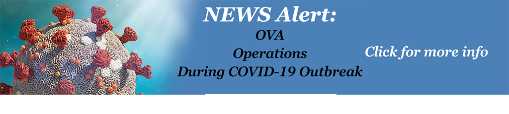 Slide with COVID illustration and News Alert - OVA Operations During COVID Outbreak