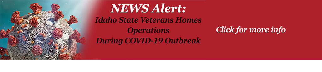 Slide with COVID illustration and News Alert - Idaho State Veterans Homes Operations During COVID Outbreak