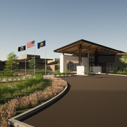 A third angle of the Community Center Entry.