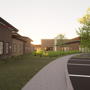 Rendering of the walkway connecting Neighborhoods to the Community Center.