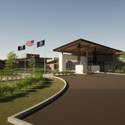 Rendering of the Community Center and Neighborhood.