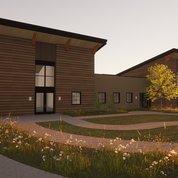 Rendering of the exterior of the Therapy area and the Sports bar entry.